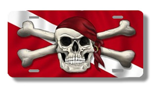 Dive Flag with Skull License Plate